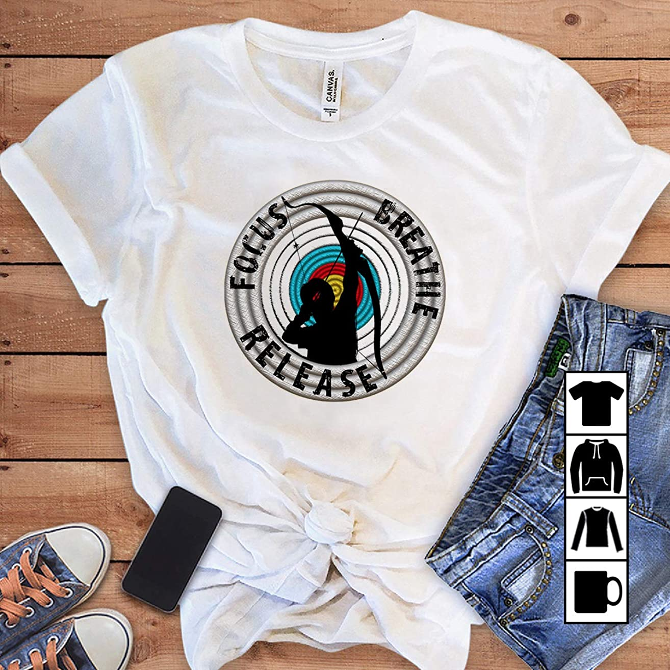 Archery Archer focus breathe release T Shirt Long Sleeve Sweatshirt Hoodie Youth