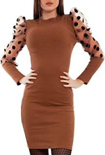 Toocool - Vestito Donna Maniche Sbuffo velate Pois Mini Abito Elegante VB-5940