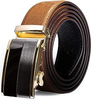 Dubulle Mens Leather Dress Belt Ratchet Adjustable Novelty Buckle Sliding Strap Cool