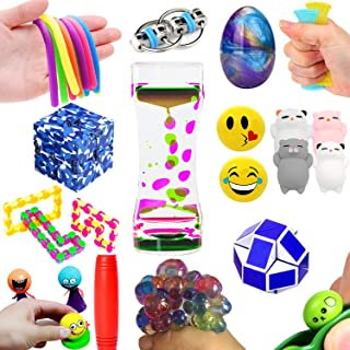 The Ultimate 14 Varieties 21 Packs Fidget Toys Sensory Kit For Kids Mochi Squishies Toys/Infinity Cube/Emoji Stress/Squeeze Bean/Fidget Stick/Twisted Toy/Fidget Cube Adult Add Adhd Stress Relax Prime