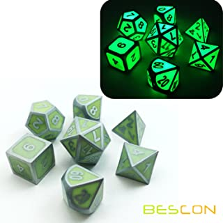 Bescon Superduty Glow in The Dark Solid Metal Polyhedral D&D Dice Set of 7 Luminous Metallic RPG Role Playing Game Dice 7pcs Set D4-D20 Glowing Metal Dice
