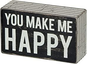 Primitives by Kathy Pinstripe Trimmed Box Sign, 5 x 3-Inches, Make Me Happy