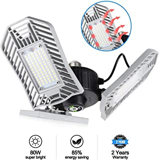 Tanbaby Garage Light 80W Garage Lighting Led Garage Lights 8000lm, LED Garage Ceiling Lights, LED Shop Lights for Garage, Warehouse, Workshop, Basement