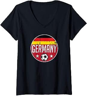 Womens Germany Football Soccer Team Supporter Flag Jersey Berlin V-Neck T-Shirt