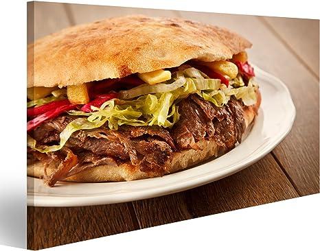 Bild Bilder auf Leinwand T/ürkischer D/öner Kebab auf goldger/östetem Pita Brot gef/üllt mit Rotisserie R/östfleisch und frischem Salat Wandbild Poster Leinwandbild QBVK