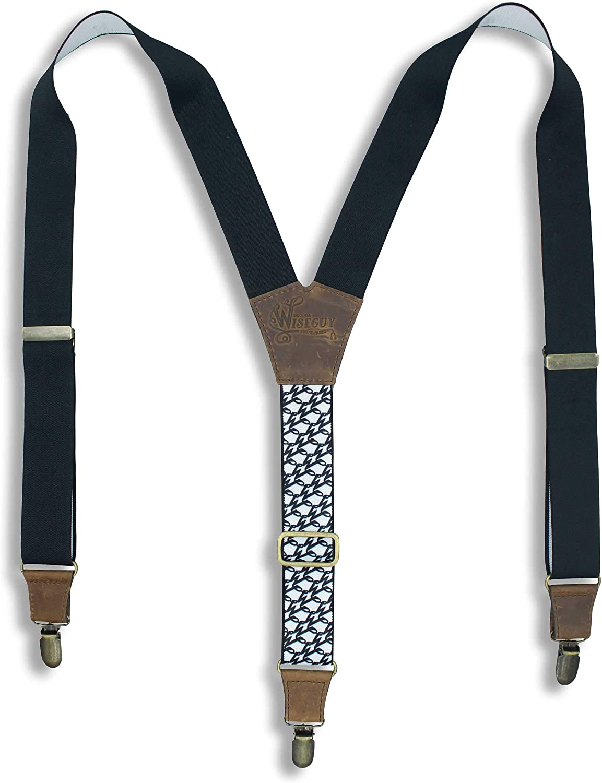 Suspenders The Swag Black Elastic Wide 1.36 inch | Wiseguy Original