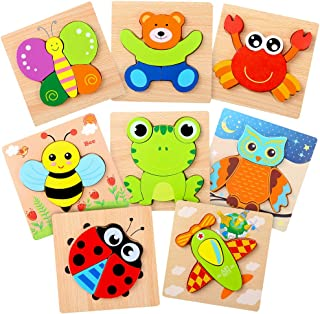 PP OPOUNT 8 Packs Educational Animal Wooden Puzzles Wooden Animal Puzzles for Children Early Learning Preschool Educational