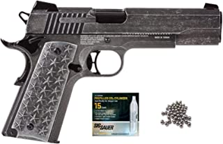 SIG Sauer 1911 BB Gun Air Pistol with CO2 12 Gram (15 Pack) and Pack of 100 Airgun .177/4.5mm Steel BBS Bundle
