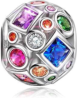 NINAQUEEN® Charm - Palla Arcobaleno Argento Sterling 925 Zirconia Regalo per Lei, Regali per Mamma, con Confezione di Scat...