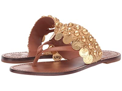 Tory Burch Patos Coin Thong Sandal (Tan/Tan) Women