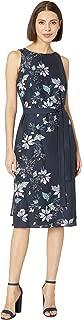 Women's Sleeveless Floral Vines Tie Waist Dress