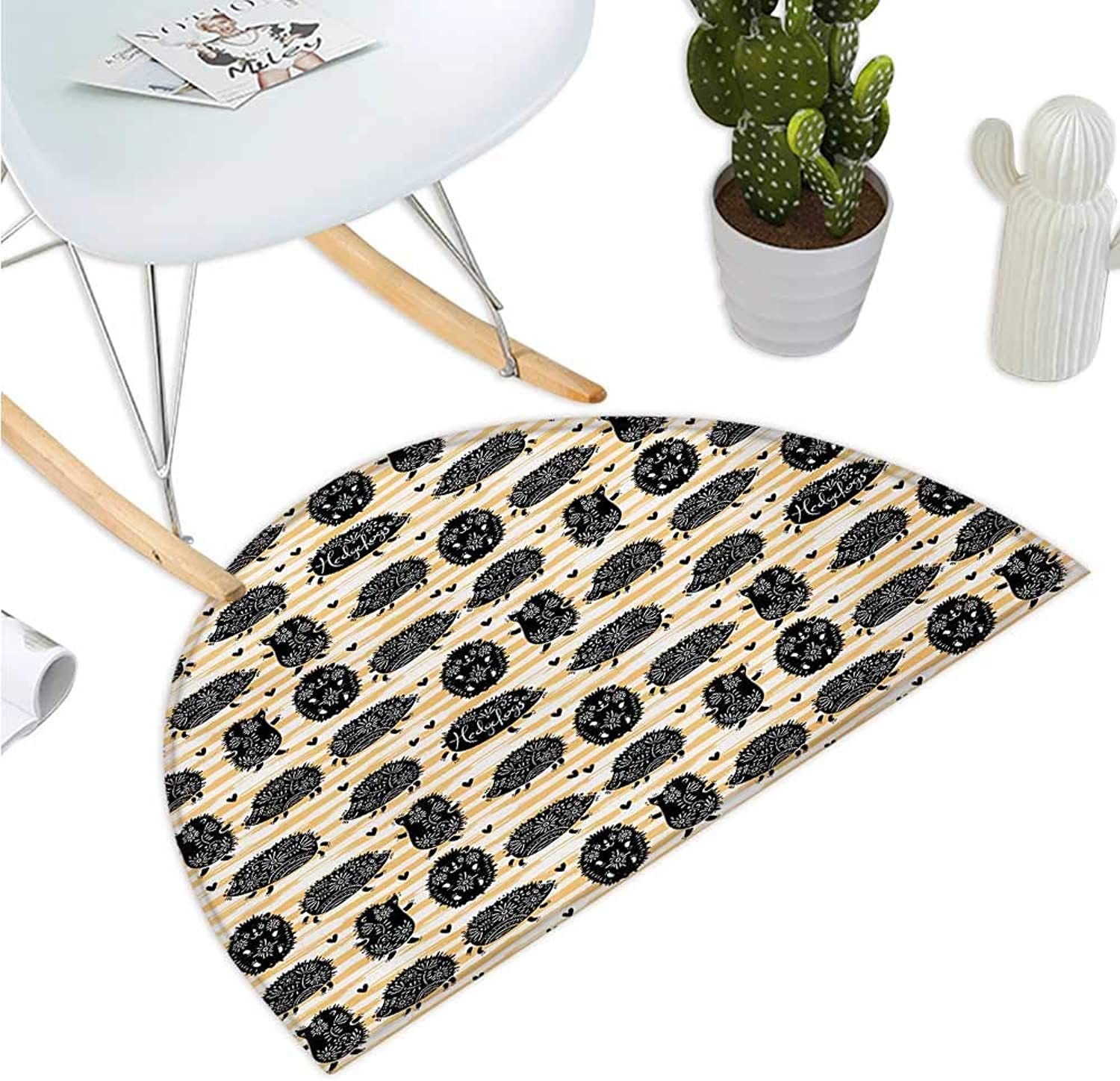 Hedgehog Semicircular Cushion Brushstroke Style Striped Backdrop Funny Animals with Floral Patterns Bathroom Mat H 51.1  xD 76.7  Pale orange Black White
