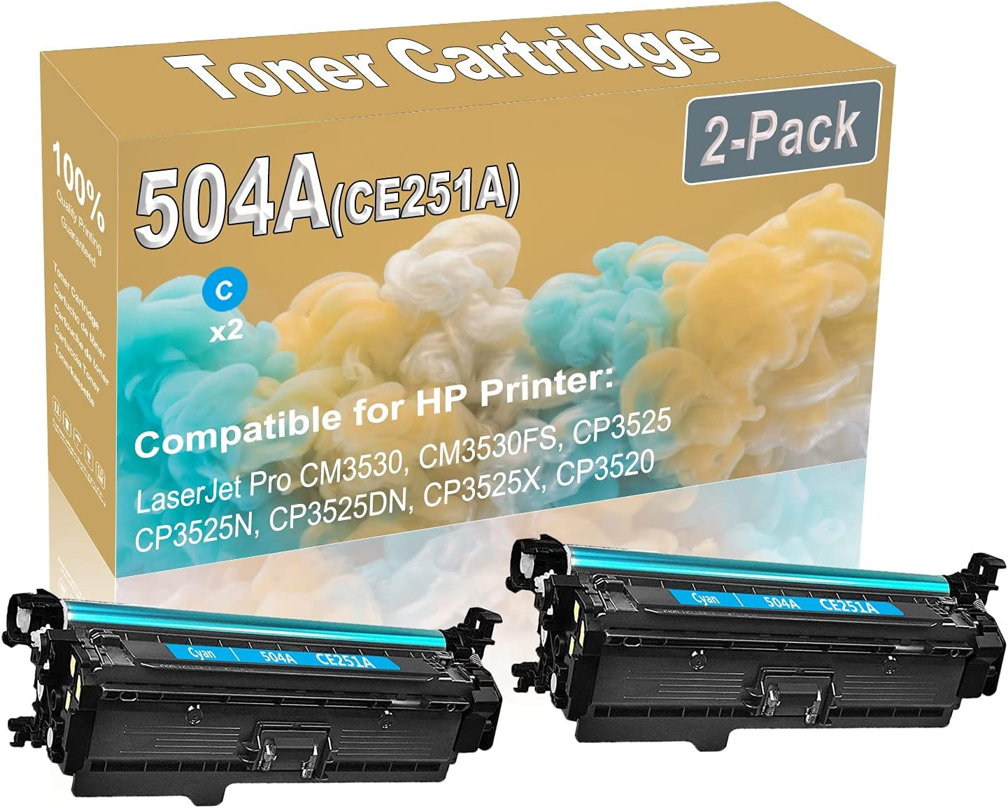 2-Pack (Cyan) Compatible CM3530 CM3530FS Laser Toner Cartridge (High Capacity) Replacement for HP 504A (CE251A) Printer Toner Cartridge