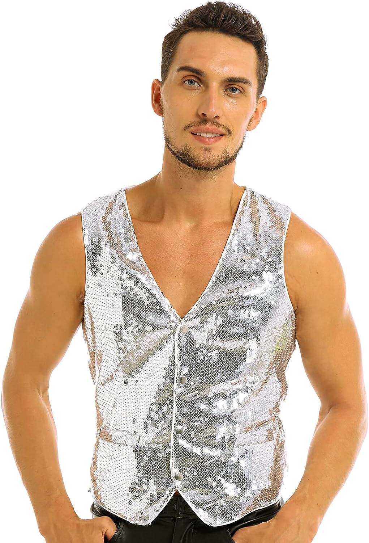 Yanarno Men's Slim Fit Shiny Sequins Vest V-Neck Fashion Party Dress Suit Stylish Vest Waistcoat