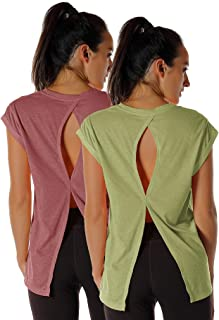 icyzone Open Back Workout Top Shirts - Yoga t-Shirts Activewear Exercise Tops for Women(Pack of 2)