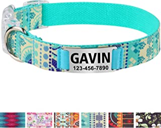 Vcalabashor Personalized Dog Collar/Premium Custom Dog Collar with Staineless Steel Nameplate/Breakaway Buckle/Western Dog Collars/Laser Engraved