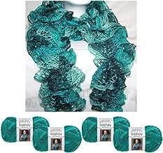 4 X Yarn Crochet Knitted Scarf Malachite Metallic Green Teal Sashay Knit Aqua