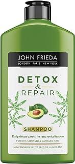 John Frieda Champú Reparador Detox ml Pelo Seco y Dañado Hidratante Solido Nutritivo Verde 250 Mililitros