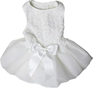 Kirei Sui White Rosettes Pets Tutu Wedding Party Dress