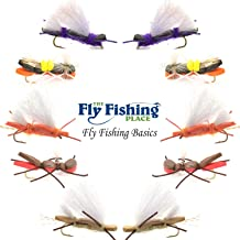 The Fly Fishing Place Basics Collection - Chernobyl Ant Foam Dry Fly Assortment - 10 Dry Fishing Grasshopper Flies - 5 Patterns - Hook Size 10