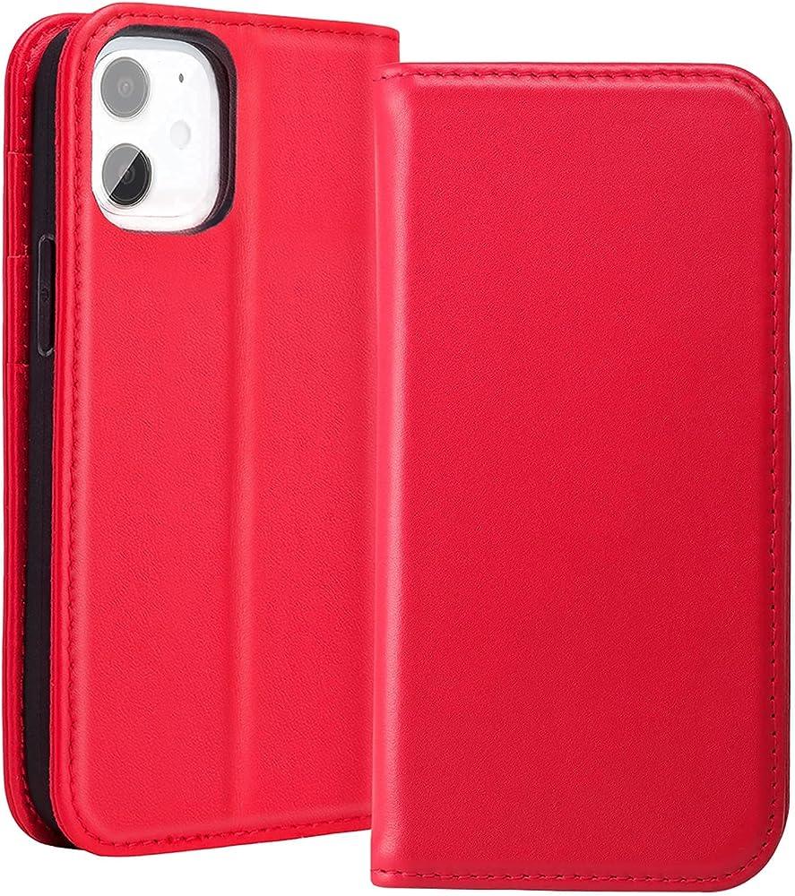 Redyrun, portafoglio, custodia per  iphone 12 mini, in pelle e silicone, porta carte di credito, IP12Mhandycase-R