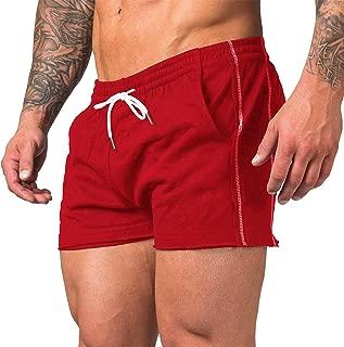 URRU Mens Bodybuilding Gym Workout Running Cotton Shorts with Elastic Waist S-XXL