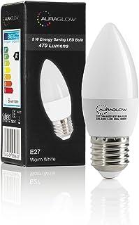Bombilla de la vela de AURAGLOW 5w LED E27, blanco cálido, 3000K, 470 lúmenes - 40w EQV