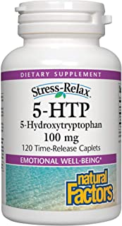 Stress-Relax 5-HTP 100 mg by Natural Factors, Promotes Emotional Well-being, 120 Caplets