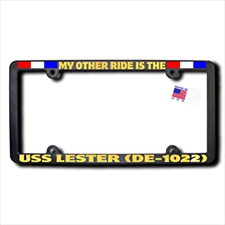 James E. Reid Design My Other Ride USS LESTER (DE-1022) REFLECTIVE GOLD TEXT & Ribbons Frame