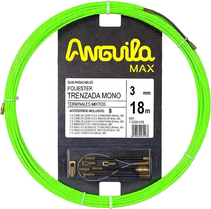 ANGUILA MAX 75330006 Guía pasacables Especial Tubos Estrechos Poliéster Trenzada Monofilamento 3mm 6 Metros y terminales Mixtos, Verde