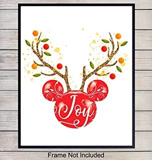 Mickey Mouse Christmas Decor Art Print - Reindeer Wall Art Poster - Unique Home Decoration for Holiday, Xmas - Gift for Disneyland, Walt Disney World Fans - 8x10 Photo Unframed