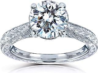 Antique Style Moissanite Engagement Ring 1 1/2 CTW 14k White Gold