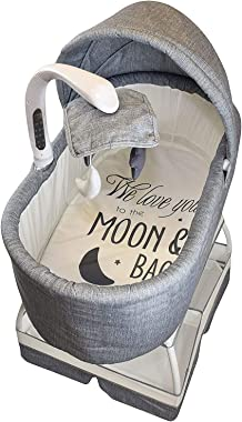 Sweetli Baby Bassinet Sleeper on Wheels for Boys or Girls with Crib Mobile, Removable Canopy, Large Storage Basket, and 2 She