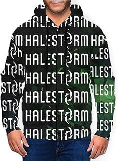 LutherStamm Men's Midweight Hooded Zip Front Halestorm Logo Casual Sweatshirt