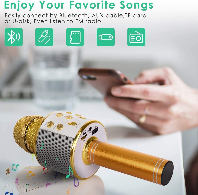 ASENTER Micr/ófono Inal/ámbrico Bluetooth Karaoke con luces LED,Infantil Port/átil de mano Speaker Machine Birthday Home Party Compatible con Android//iOS//PC//AUX o Tel/éfono Inteligente Pink