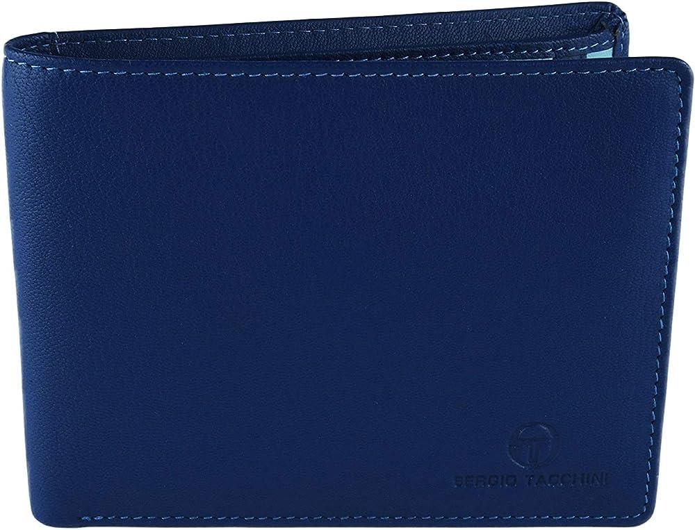 Sergio tacchini, portafoglio per uomo, in vera pelle, interno multicolore, blu2