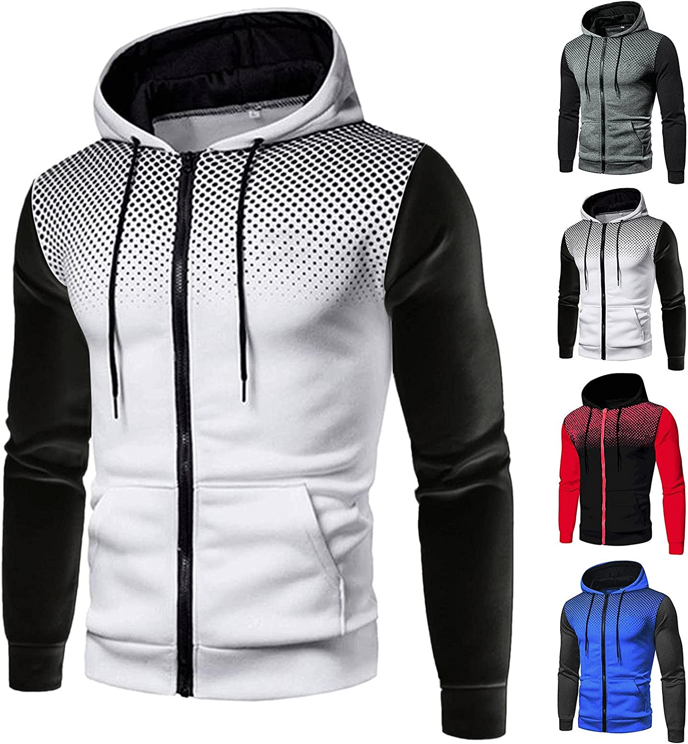 Men's Hoodie Pullover Omaha Mall Zip up Winter Casual Fit Indianapolis Mall Slim Hooded Cardi