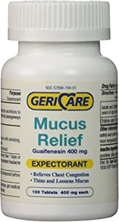 Mucus Relief Tablets by Geri-Care | Expectorant for Chest Congestion Relief | Guaifenesin 400mg | 100 Count Bottle