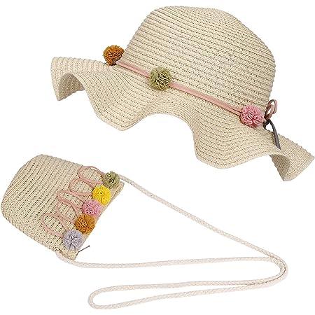 FT-SHOP Sombrero de Paja Niñas Gorra de Sol Chica y Bolsillo Set con Decoracion de Flores Gorro de Playa para Viaje Beach Piscina al Aire Libre