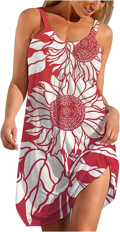 Aiouios Summer Dresses for Women, Womens Floral Print Sleeveless Cami Dress Long Swing Dress Beach Vacation Sexy Dress