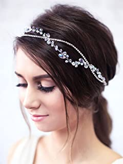 Yean Wedding Hair Vine Headband Silver Rhinestone Crystal Bridal Vine Accessories Wedding Hairstyle for Bride and Bridesmaid - 15.74inches