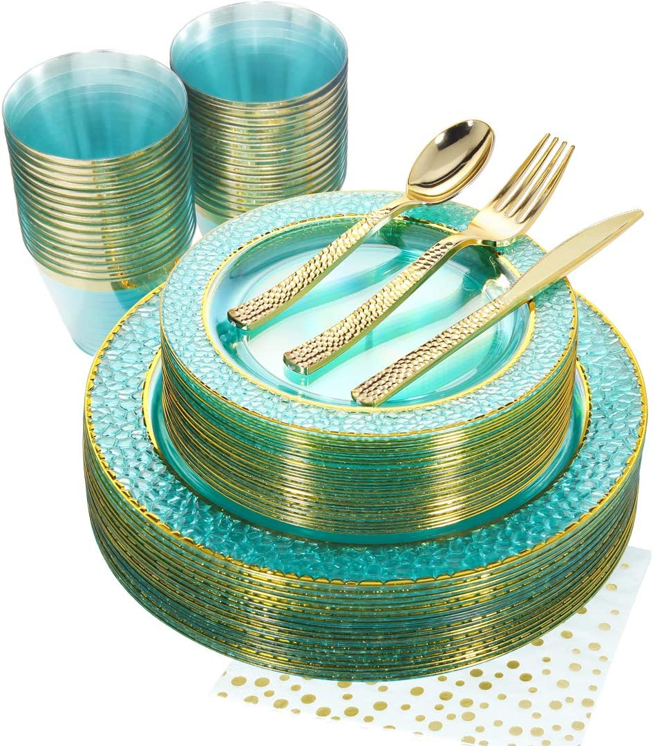 Nervure 175PCS Mint with Gold Rim Plastic Plates Set:St Patrick's Day Decorations&Served for 25Guests - Component by Dinner Plates,Dessert Plates,Forks,Knives,Spoons,Cups,Napkins