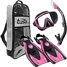 TUSA Sport Adult Black Series Serene Mask, Dry Snorkel, and Fin Travel Set