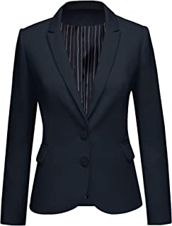 Womens Notched Lapel Pocket Button Work Office Blazer...