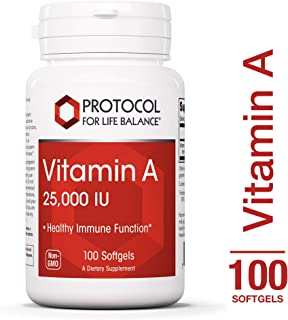 Protocol For Life Balance - Vitamin A 25,000 IU - Promotes Healthy Immune Function, Anti-Oxidation, and Provides Cellular Support - 100 Softgels