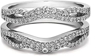 TwoBirch 0.57 Ct. Double Infinity Wedding Ring Guard Enhancer in Sterling Silver with Cubic Zirconia