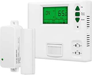 ENERLITES Digital Programmable Thermostat with PIR Motion Detector and Door Sensor, for One-Stage HVAC and PTAC Units, 800 Square Feet Coverage, Backlight LCD, Fan control, 24VDC, MT110, White