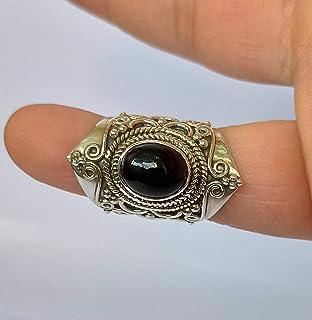 Anello in onice nero, argento sterling 925, anello fatto a mano, anello nero, gioielli in onice nero, dimensioni da 23 IT