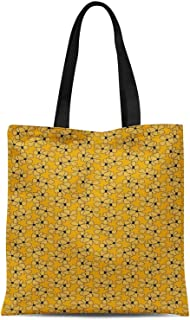 S4Sassy White Periwinkle Floral Print Canvas Shopping Tote Bag Carrying Handbag Casual Shoulder Bag 16x12 Inches