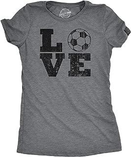 Womens Love Soccer Tshirt Cute Sports Tee for Ladies